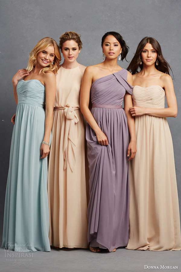 donna morgan pastel bridesmaid dresss neutral tone dresses powder blue champagne pink peach lavender almond necklines