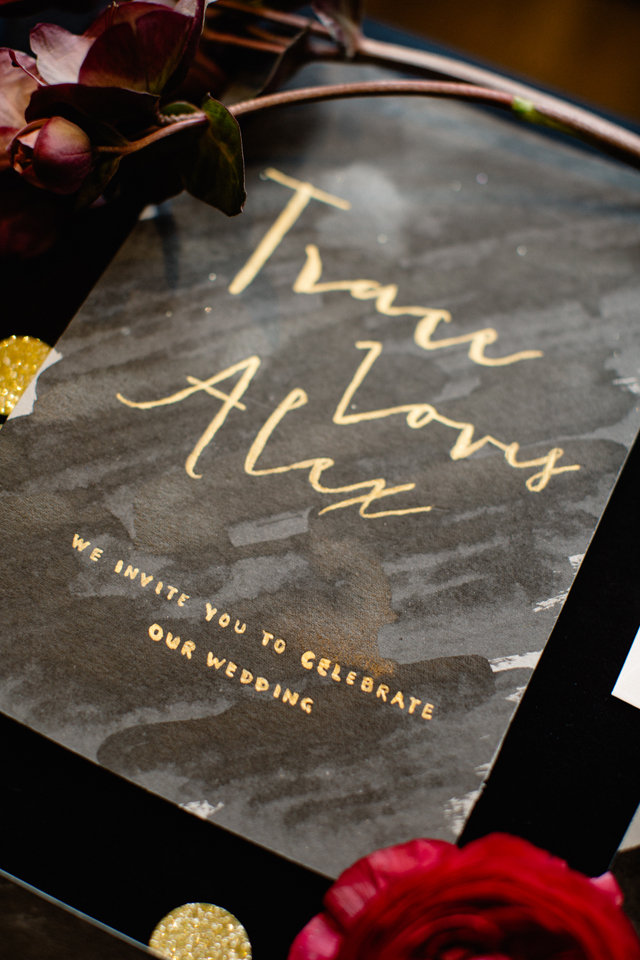 Black and gold wedding invitations ⎪ Tony Gigov Photography ⎪ see more on: http://burnettsboards.com/2015/07/sultry-marsala-black-wedding/