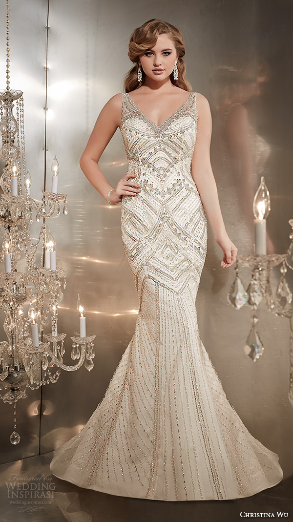 christina wu wedding dresses 2015 sleeveless v neckline with strap beaded gorgeous trumpet mermaid wedding dress 15561