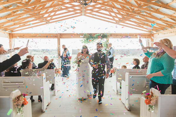 ceremony recessional - photo by Allen Tsai Photography http://ruffledblog.com/charming-eclectic-wedding-in-texas
