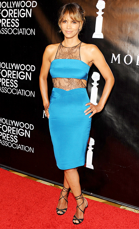 Halle Berry rocked a cutout lace dress at the Hollywood Foreign Press Association's Annual Grants Banquet on Aug. 13.