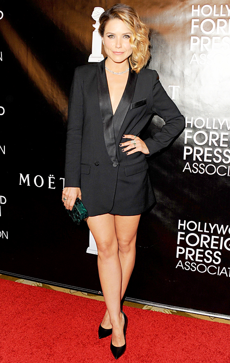 Sophia Bush modeled a tux-style dress at the Hollywood Foreign Press Association's event on Aug. 13.