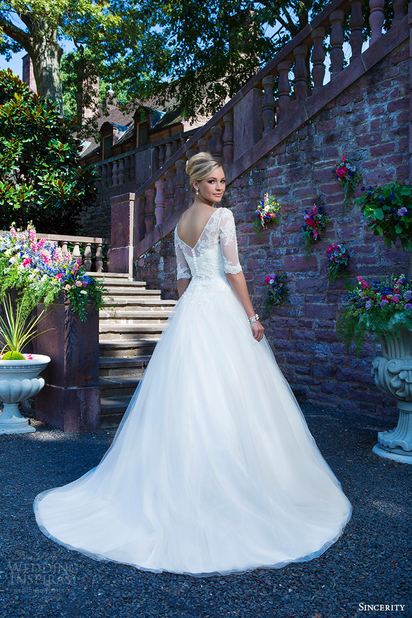 sincerity bridal 2016 style 3870 beaded embroidered lace alencon lace tulle ball gown wedding dress half illusion sleeves back