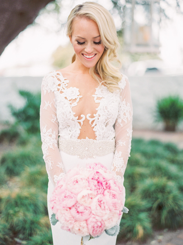 pink peony bouquet - photo by Taylor Lord http://ruffledblog.com/spring-wedding-with-an-illusion-lace-gown