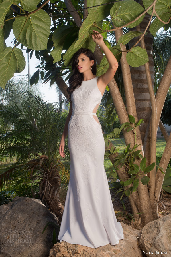 noya bridal riki dalal 2015 style 1106 sleeveless sheath wedding dress side sheer insert