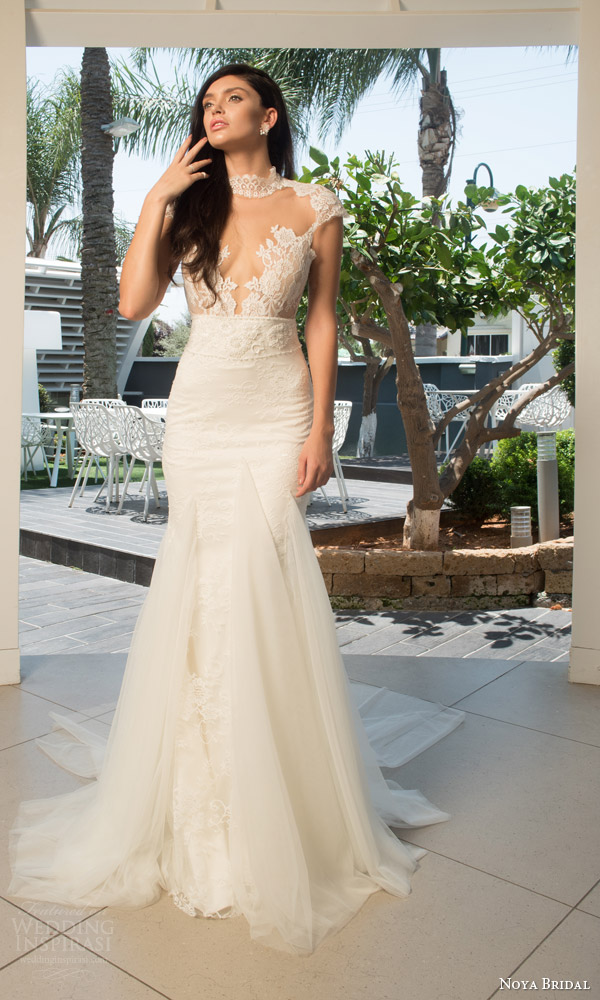 noya bridal riki dalal 2015 style 1104 cap sleeve sheath wedding dress illlusion high neckline lace bodice