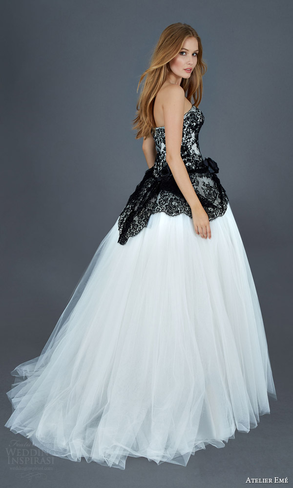 atelier eme 2016 milano strapless ball gown wedding dress black and white lace bodice