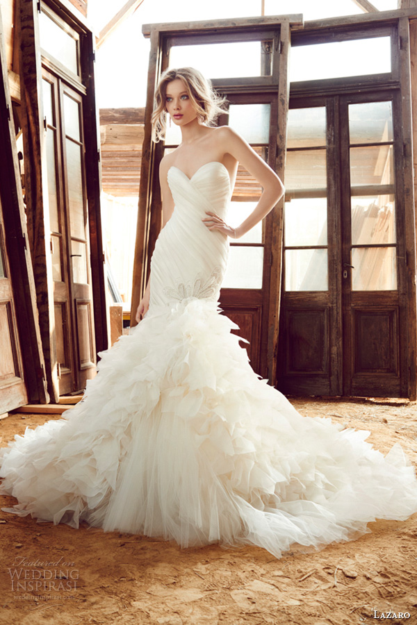 lazaro fall 2015 wedding dresses bridal silk organza fit flare strapless sweetheart pleated jeweled asymmetrical boa tulle chapel lz3559