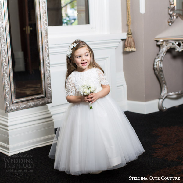 stellina cute couture 2015 2016 adorable designer flower girl dress with sleeves