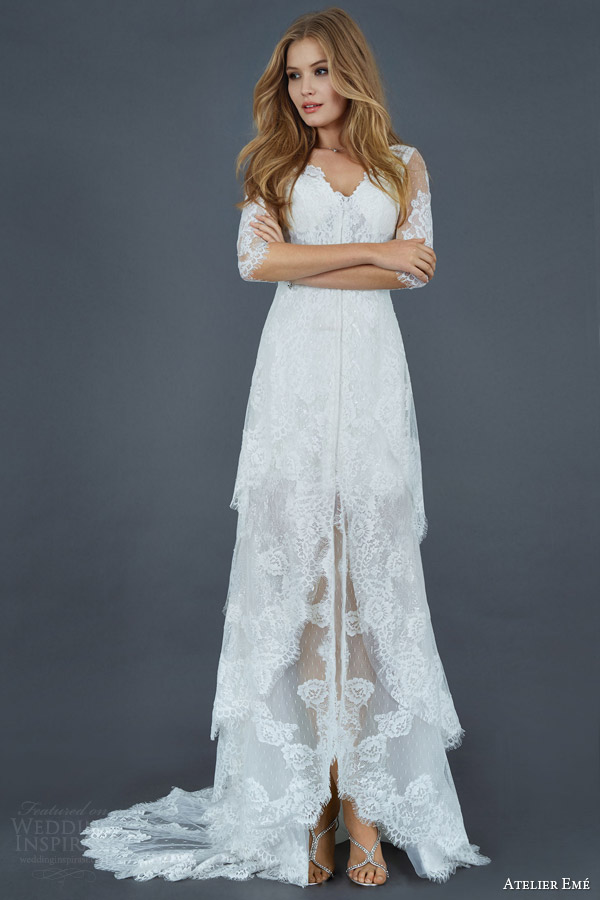 atelier eme 2016 atelier aimee lace tiered skirt wedding dress with illusion sleeves style fysci007