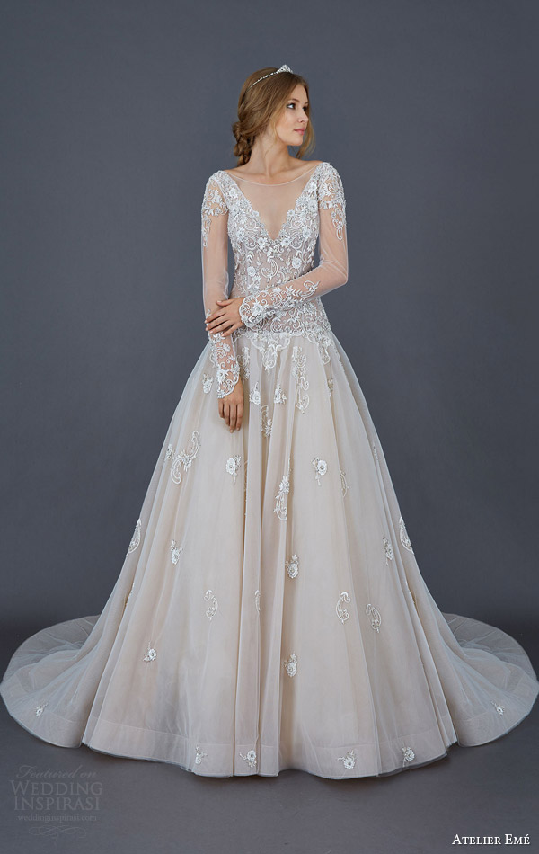 atelier eme 2016 bettina colored ball gown wedding dress illusion long sleeves