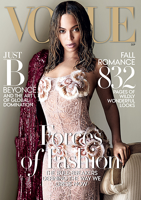 Beyonce works a lacy dress on the coveted September issue of Vogue.