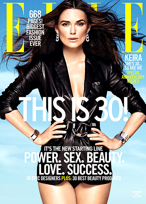Keira Knightley on ELLE's September 2015 cover.