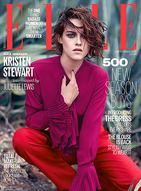 Kristen Stewart works ruffles on the September issue of ELLE UK.