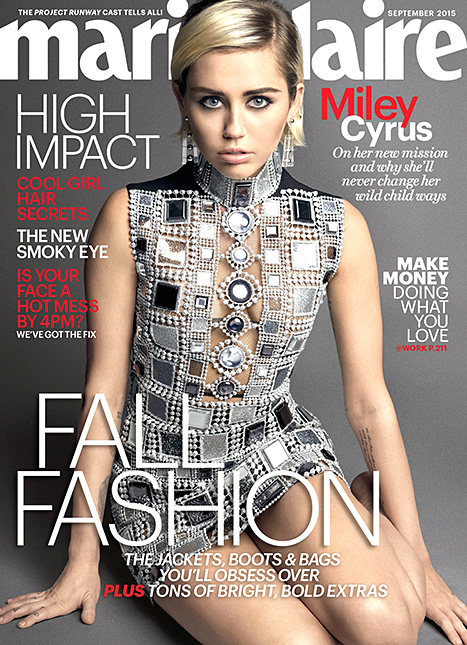 Miley Cyrus goes metallic on Marie Claire's September 2015 cover.