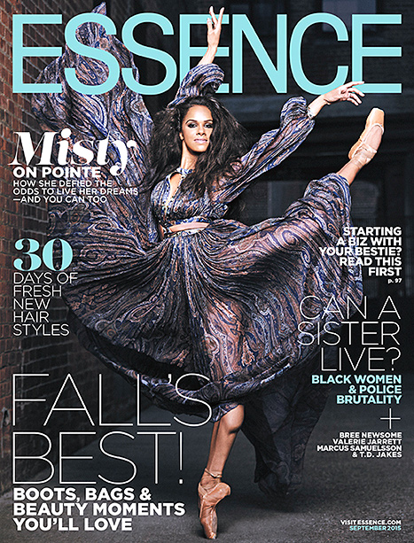 Misty Copeland showcases her ballerina skills on the September 2015 cover of Essence magazine.