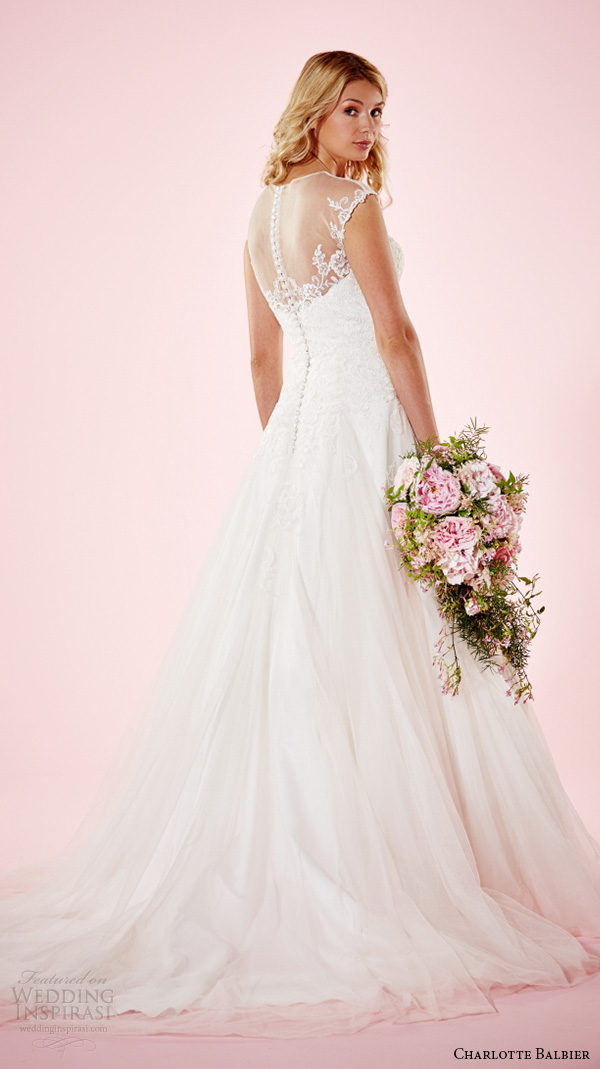 charlotte balbier 2016 bridal dresses illusion jewel neckline sheer lace back beautiful a line wedding gown lainey back