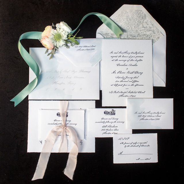 Mint and blush letterpress wedding invitations ⎪Laurie Perez Photography ⎪ see more on: http://burnettsboards.com/2015/08/mint-garden-wedding/