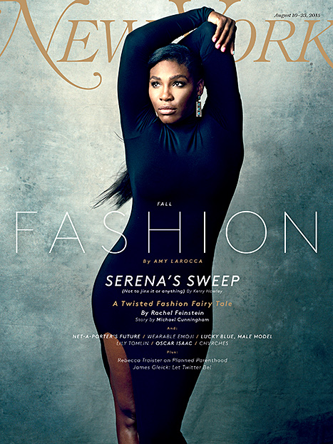 Serena Williams graces the Fall 2015 Fashion cover of New York Magazine in a tight Elizabeth and James dress.
