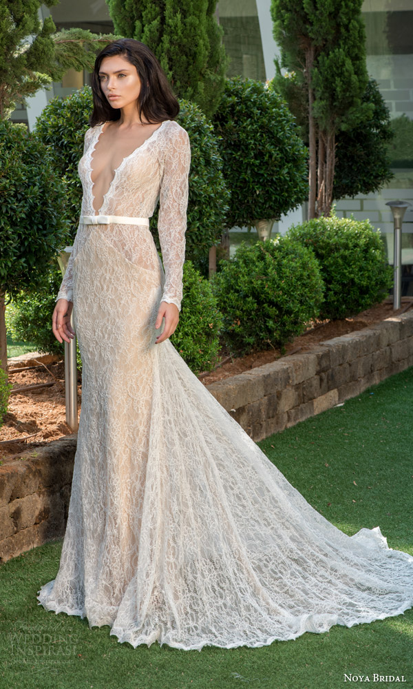 noya bridal riki dalal 2015 style 1101 long sleeve lace sheath wedding dress
