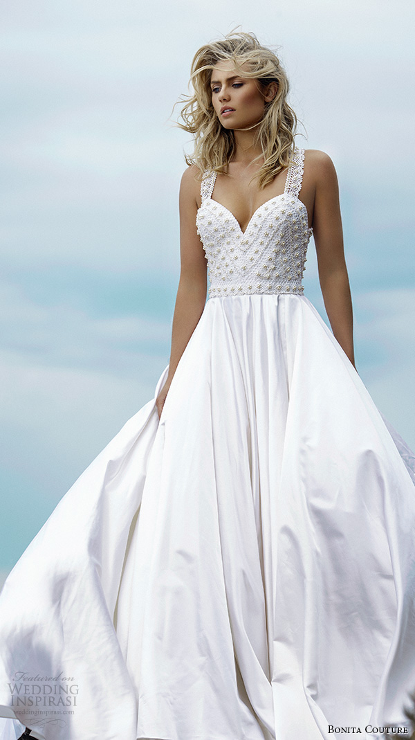bonita couture 2015 wedding dresses lace strap sweetheart neckline structured beaded pearls bodice romantic satin a line dress coco