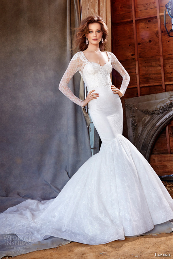 lazaro fall 2015 wedding dresses bridal chantilly lace fit and flare corset venise lace sweetheart fitted gathered skirt chapel lz3560
