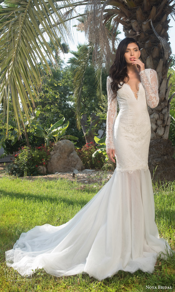 noya bridal riki dalal 2015 style 1102 illusion long sleeve mermaid wedding dress
