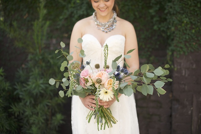Eucalyptus and thistle bridal bouquet ⎪Laura Fulmer ⎪see more on: http://burnettsboards.com/2015/08/naturally-beautiful-wedding-dresses/