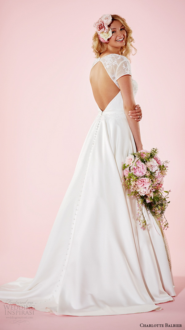 charlotte balbier 2016 bridal dresses queen anne neckline short lace sleeves semi sweetheart neckline pretty a line wedding gown camille back