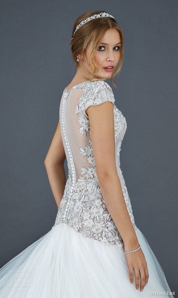 atelier eme 2016 bridal elisabeth tulle ball gown wedding dress hand embroidered bodice back view close up