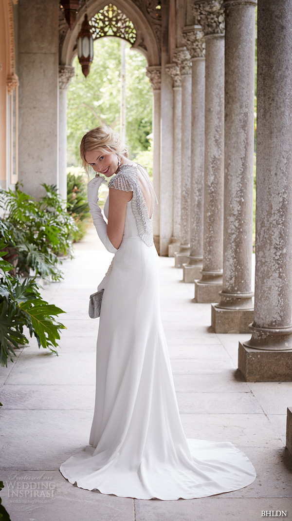 bhldn fall 2015 wedding dresses bateau neckline jeweled cap sleeves silk crepe jeweled back sheath wedding dress dylan