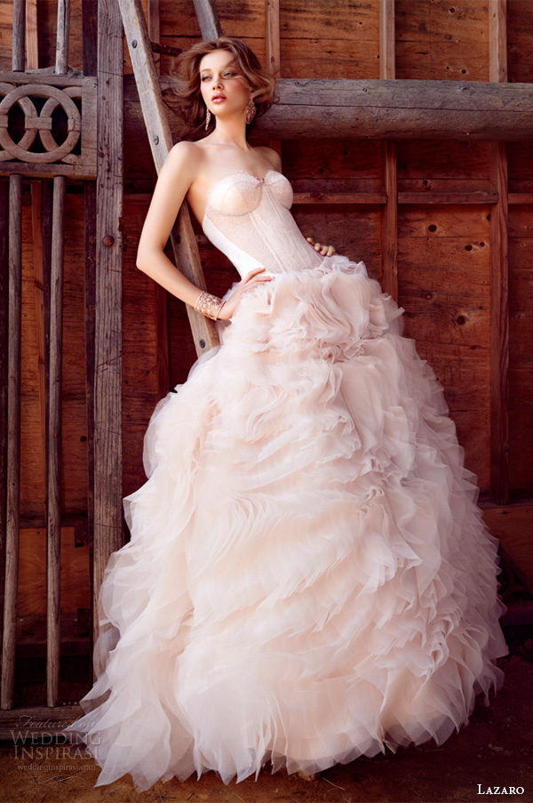 lazaro fall 2015 wedding dresses bridal ball strapless sweetheart silk satin organza corset lace sheer cutouts curved chapel lz3550