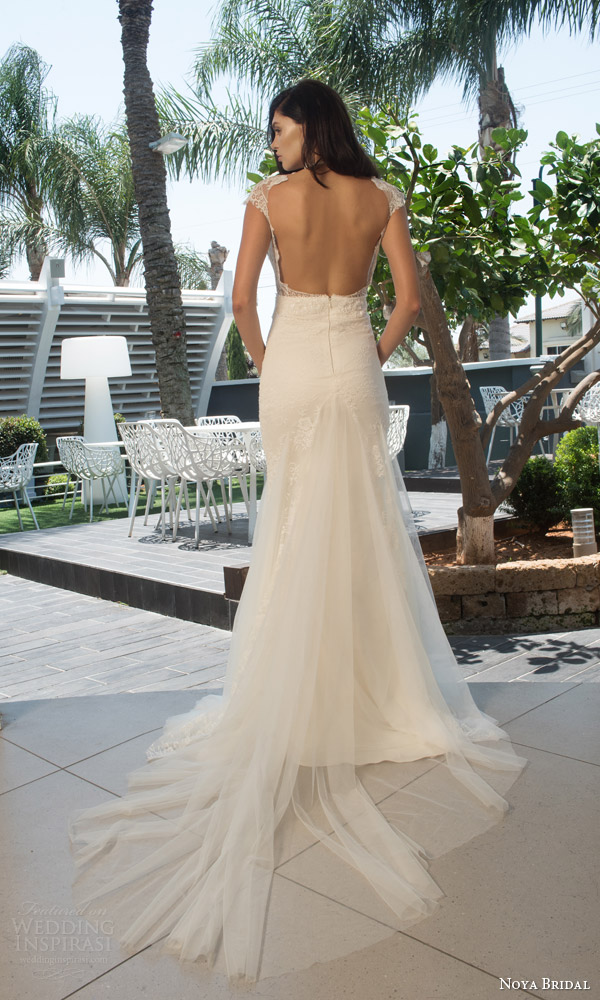 noya bridal riki dalal 2015 style 1104 cap sleeve sheath wedding dress illlusion high neckline lace back view train