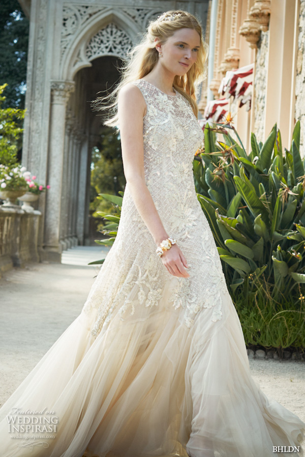 bhldn fall 2015 wedding dresses sleeveless jewel neckline lace embroidery layered tulle stunning wedding dress wesley