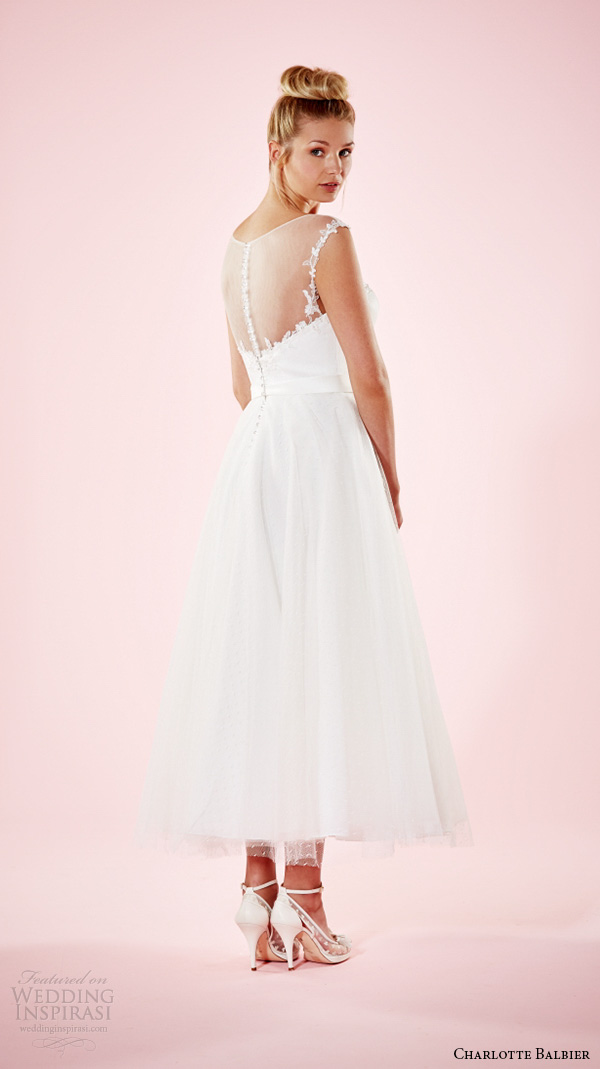 charlotte balbier 2016 bridal dresses illusion scoop neckline pretty ankle length short wedding gown kelly back