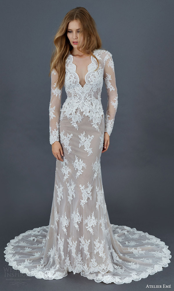 atelier eme 2016 bridal mietta illusion long sleeve lace tulle mermaid sheath wedding dress nude underlay