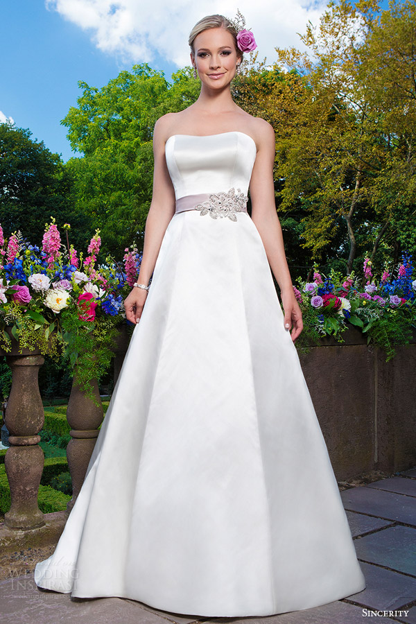 sincerity bridal 2016 style 3872 strapless sweetheart satin a line wedding dress