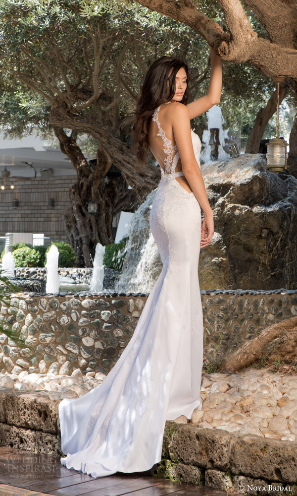 noya bridal riki dalal 2015 style 1112 wedding dress sweetheart bodice side sheer insert back view