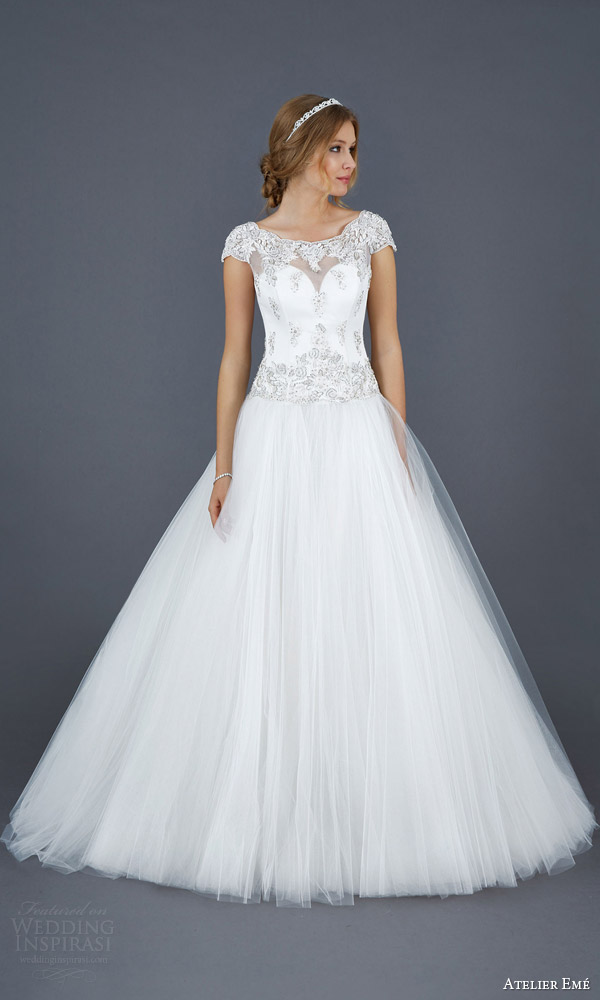 atelier eme aimee 2016 elide cap sleeve ball gown wedding dress front view