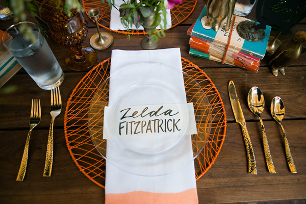 neon place setting - photo by Ilene Squires Photography http://ruffledblog.com/literary-love-inspired-wedding-shoot