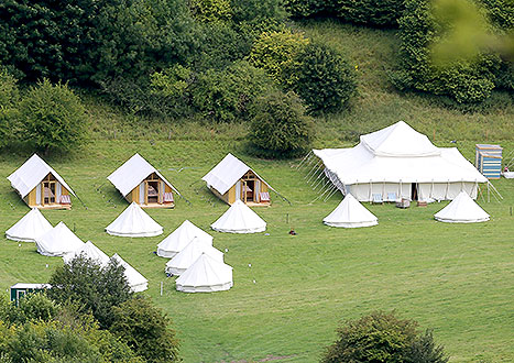 General views of the setup for the wedding of Guy Ritchie and Jacqui Ainsley in Wiltshire, England