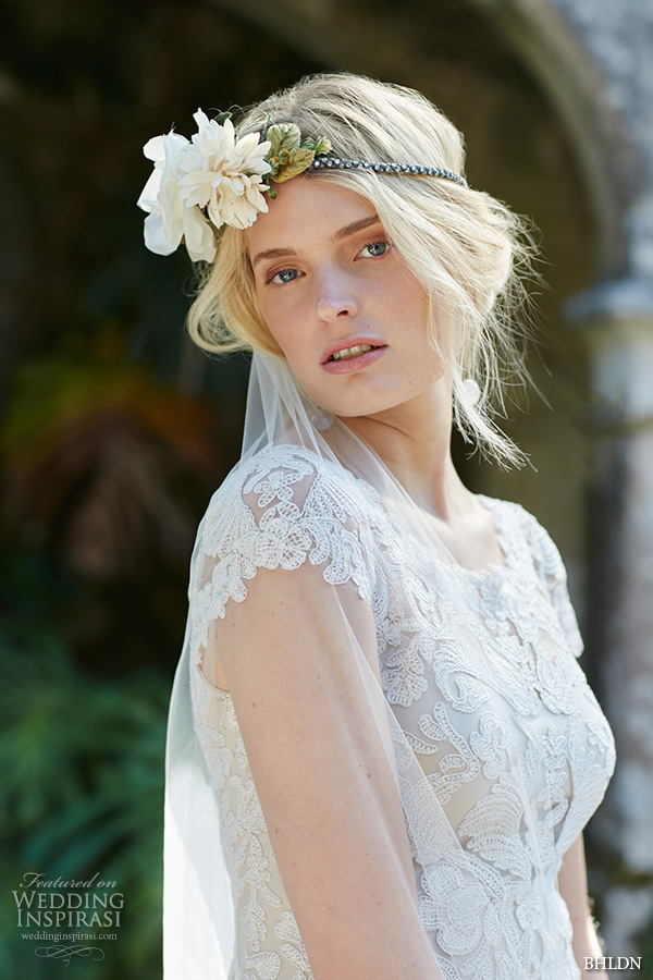 bhldn fall 2015 wedding dresses cap sleeves bateau scalloped neckline plunging v back beautiful lace ivory sheath wedding dress august close up