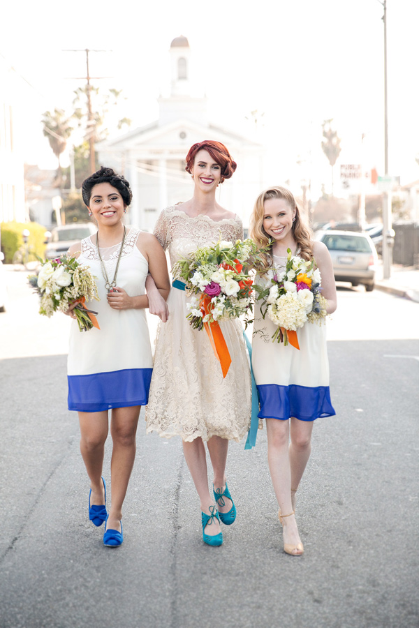 color block bridesmaid dresses - photo by Ilene Squires Photography http://ruffledblog.com/literary-love-inspired-wedding-shoot