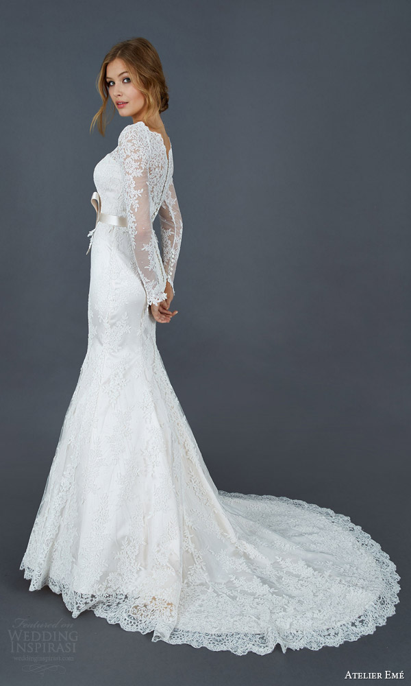 atelier eme 2016 paola long sleeve alencon lace trumpet mermaid wedding dress illusion neckline back view train