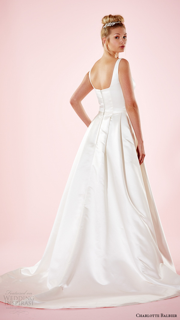 charlotte balbier 2016 bridal dresses strap square neckline simple satin a line wedding gown with pockets hanna back