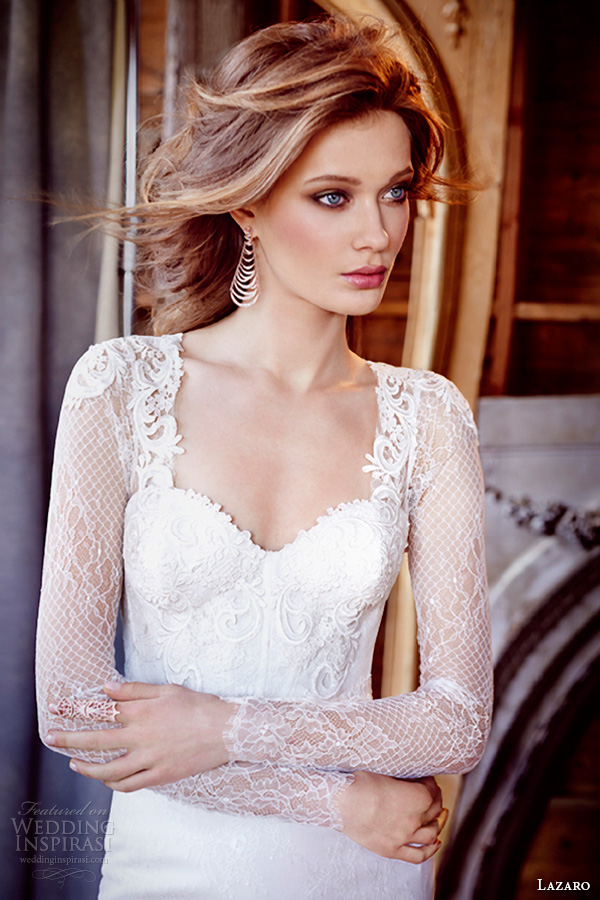 lazaro fall 2015 wedding dresses bridal chantilly lace fit and flare corset venise lace sweetheart fitted gathered skirt chapel lz3560 close up