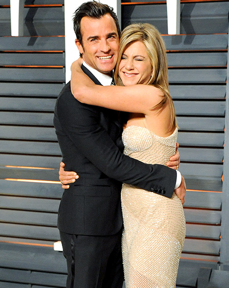 Theroux and Aniston and the 2015 Vanity Fair party after attending the 87th Annual Academy Awards