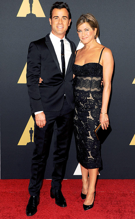 Theroux and Aniston matched in black at the 2014 Governors Awards