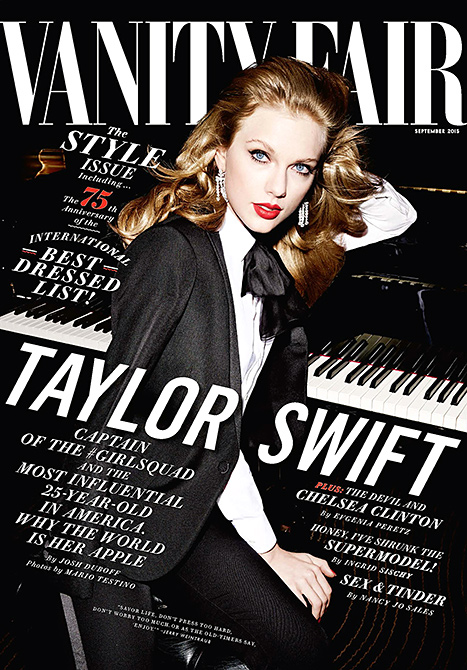 Taylor Swift covers the September 2015 issue of Vanity Fair in a black tuxedo. The singer also topped the mag's international best-dressed list.