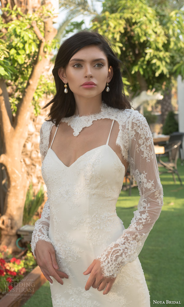 noya bridal riki dalal 2015 style 1108 sweetheart lace sheath wedding dress illusion long sleeve lace topper close up bodice spaghetti straps